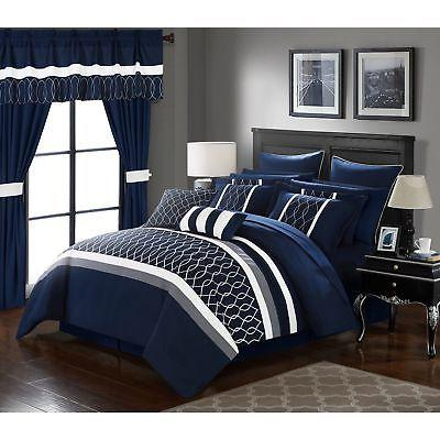 Queen Size 24 Piece Navy Blue and White ...