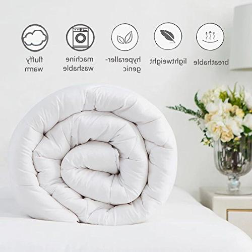 EASELAND All Season Soft Quilted Down Alternative Comforter Hotel Reversible Duvet Corner by 88 Inches