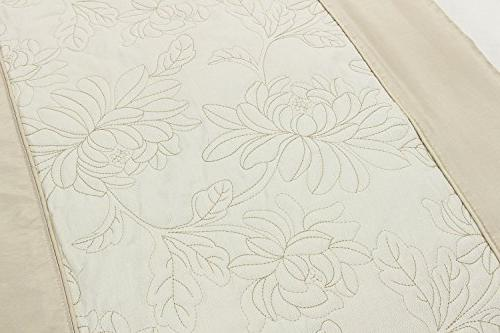 Quilted Bed Runner of Bed, Slipcover Champagne,25.5 by 86.6