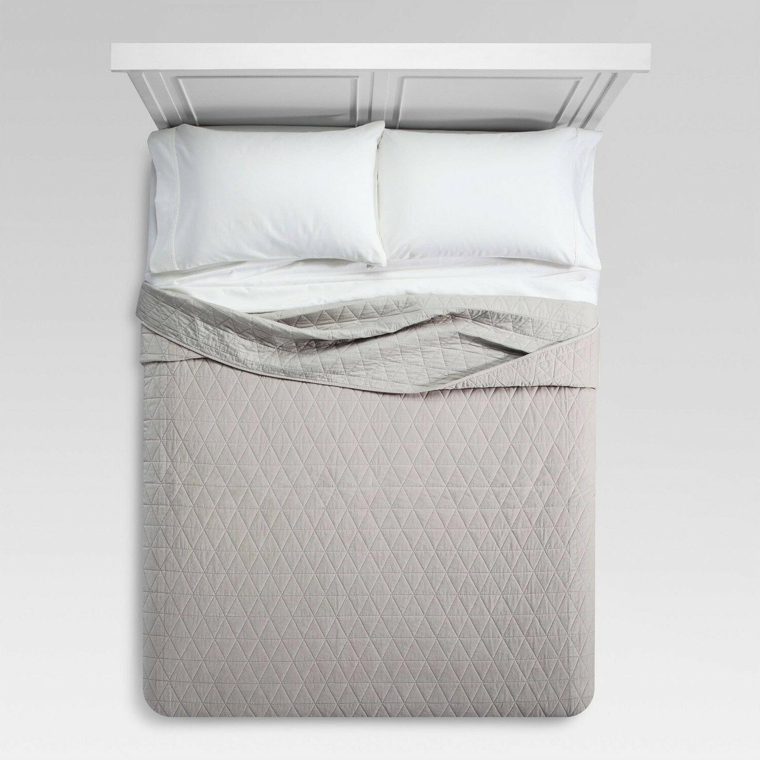 Threshold Quilted Triangle Velvet Quilt Full Queen  Gray Gre