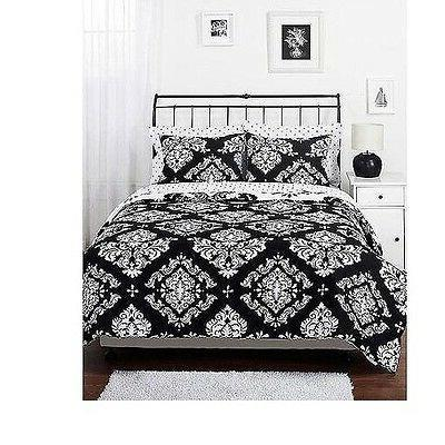 Reversible Comforter Set Black and Damask Twin Queen Size