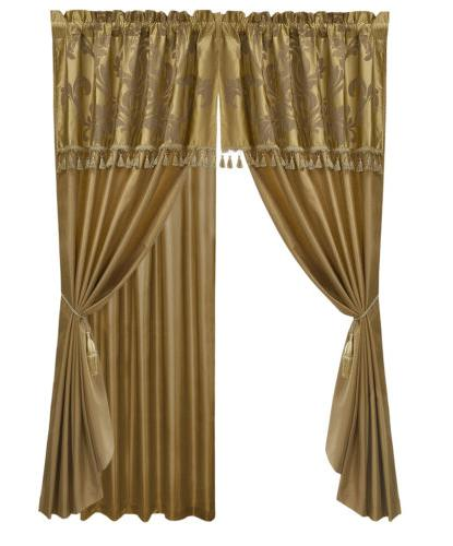 Chezmoi Collection 7-Piece Jacquard Curtain Set, Gold