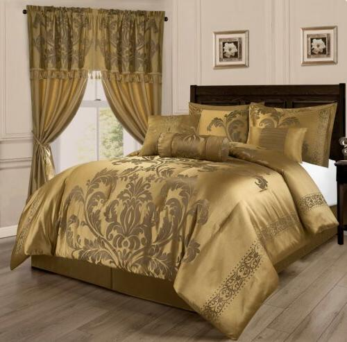 royale 7 piece jacquard floral comforter or