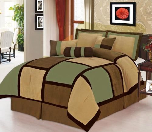 7 Piece Beige Micro Comforter Set Machine Washable, Bed-in-a