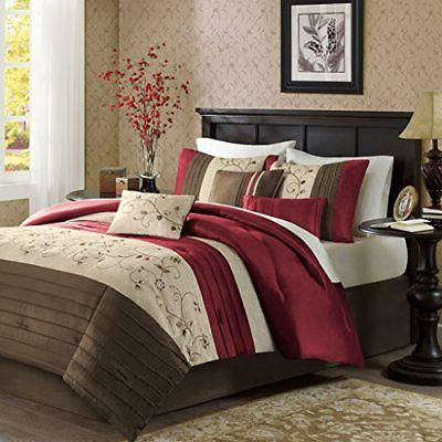 Madison Park Serene Queen Size Bed Comforter Set in Bag Red