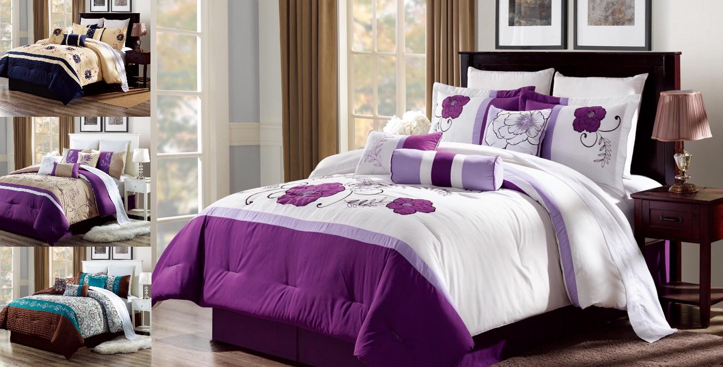 set 3pc embroidery duvet comforter bed cover
