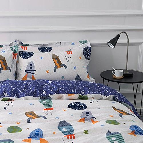 BuLuTu Rocket Print Cotton Boys Cover Queen White and 3 Planet Girls Closure,NO COMFORTER