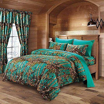 7 PC TEAL CAMO COMFORTER AND SHEET SET FULL CAMOUFLAGE WOODS