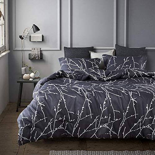 Wake Cloud Tree Pattern Printed Dark Gray Microfiber Bedding