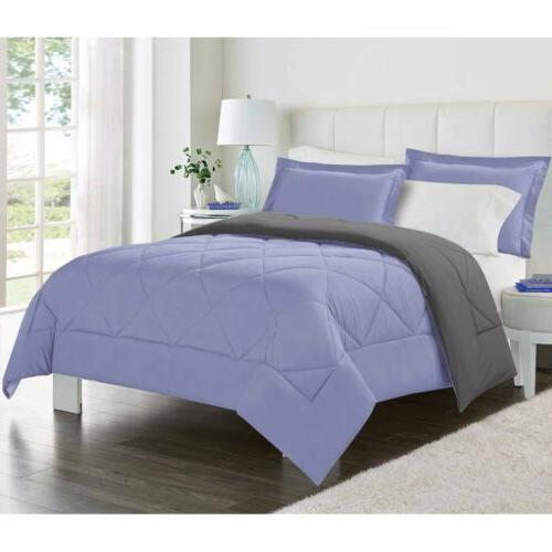 Twin Full Queen King Bed Solid Lavender Purple Gray Reversib