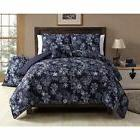 Twin XL Full Queen Bed Navy Blue Winter Snowflakes Christmas