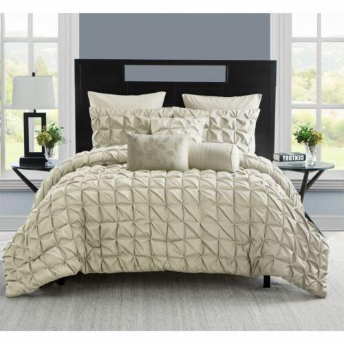 Twin XL Full Queen King Bed Taupe Beige Pleat Pintuck 8 pc C