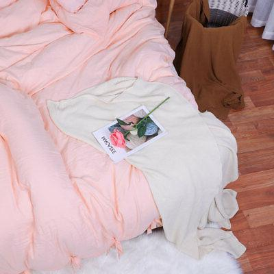 Washed Cotton Bedding Comforter Cover Pillowcase Bed