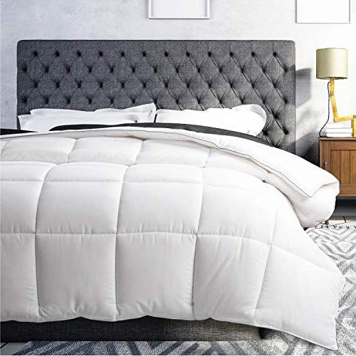 Bedsure White Down Comforter Queen, - Piece Hypoallergenic Fill, All Duvet with Tabs,