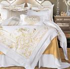 100%Egyptian Cotton Royal Soft White Gold Embroidery Bedding
