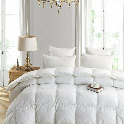 GOOSE DOWN ALTERNATIVE DOUBLE FILLED LUXURY WHITE COMFORTER