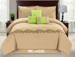 7-Pc Laurel Leaves Garland Embroidery Comforter Set Taupe Gr