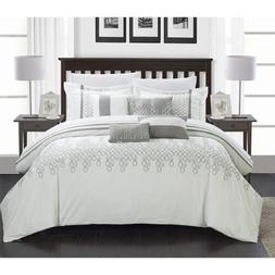 Chic Home 8-Piece Lauren Contemporary Comforter Set, Queen,