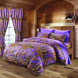 7 PC LAVENDER CAMO COMFORTER AND SHEET SET QUEEN CAMOUFLAGE