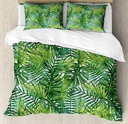 Ambesonne Leaf Duvet Cover Set Queen Size, Tropical Exotic B