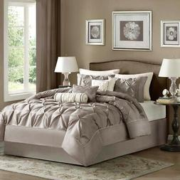 Leanne 7 Piece Comforter Set, Queen, Taupe
