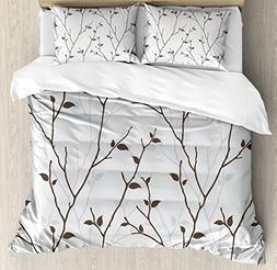 Ambesonne Leaf Duvet Cover Set Queen Size, Branches in The F