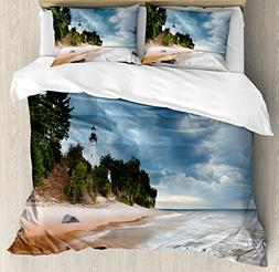 Ambesonne Lighthouse Decor Duvet Cover Set Queen Size, Au Sa