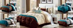 LUXURIOUS DUVET COMFORTER BED COVER 3PC SET BEDROOM MODERN D