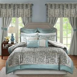 Luxurious Teal Silver Grey Faux Silk Comforter Curtains 24 p