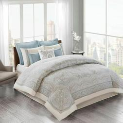 Luxury Ivory & Blue Cotton Sateen Comforter w/Bedskirt AND D