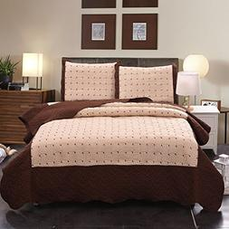 Jml Luxury 3 Pieces Quilt Set Queen Size, Soft Brushed Micro