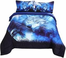 Luxury Quilted Comforter Set, Cool Wolf Pattern Print Beddin