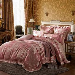 FenDie Luxury Satin Duvet Cover Queen Cotton 3 Piece Pink Fl