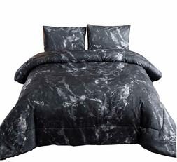 Marble Pattern Comforter Set Ultra Soft Quilt Doona Bed-in-a