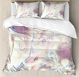 Ambesonne Marble Duvet Cover Set Queen Size, Vintage Antique