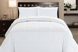 Microfiber Goose Down Double Fill Alternative Comforter - Wh
