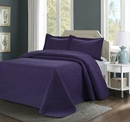 3 Piece MIKANOS Ultrasonic Embossed Bedspread Set-Oversized