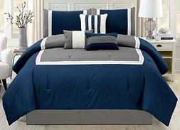 Modern Queen size 7 Piece Bedding Stripe, Pinch Pleat, Embro