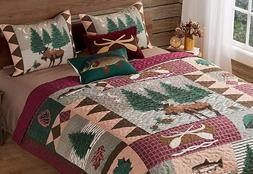MOOSE LODGE Full/Queen or King QUILT SET - BEAR FISH CABIN M