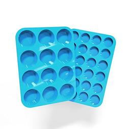 Silicone Muffin and Cupcake Pans – Set of 2   Cake Molds  