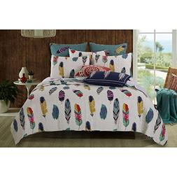 3 Piece Multi Colorful Bird Feathers Quilt Full Queen Set, E
