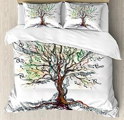 Ambesonne Music Decor Duvet Cover Set Queen Size, Musical Tr