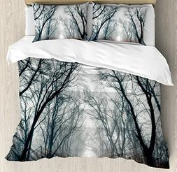 Ambesonne Mystic Duvet Cover Set Queen Size, Road Towards Th