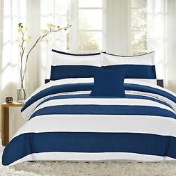 Sweet Home Collection Nautical Stripe 4 Piece Reversible Com