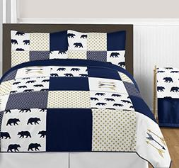 Navy Blue, Gold, and White Big Bear Boy Full / Queen Bedding