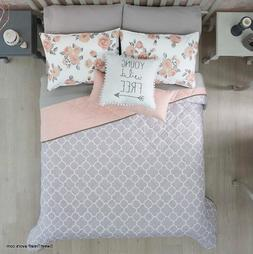 NEW FREE GRAY/PINK TEENS GIRLS Reversible Comforter SET 5 PC