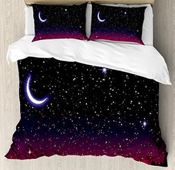 Ambesonne Night Duvet Cover Set Queen Size, Red Sky at Night