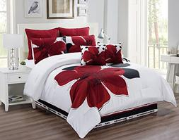 8 Piece - Burgundy Red, Black, White, Grey Oversize Comforte