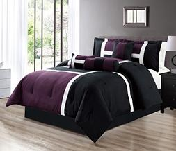 "7 Piece Oversize DARK PURPLE / BLACK Color Block ""Emma"" Comf"