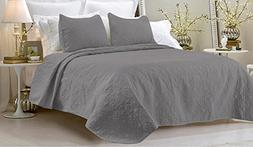Oversized - 3 Piece 100% Cotton Quilted Coverlet Set - Gray